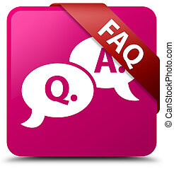 Faq (question answer bubble icon) pink square button red ribbon in corner
