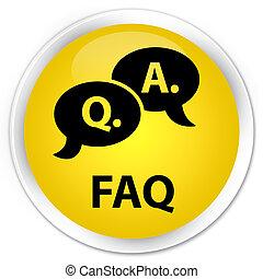 Faq (question answer bubble icon) premium yellow round button