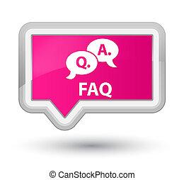 Faq (question answer bubble icon) prime pink banner button