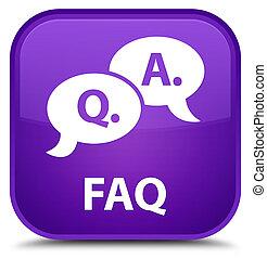 Faq (question answer bubble icon) special purple square button