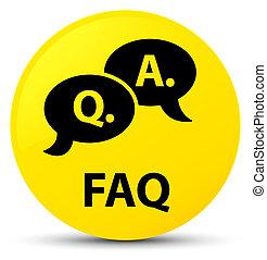 Faq (question answer bubble icon) yellow round button