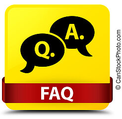 Faq (question answer bubble icon) yellow square button red ribbon in middle