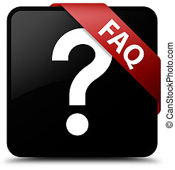 Faq (question icon) black square button red ribbon in corner
