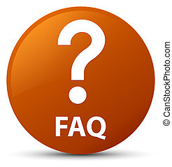Faq (question icon) brown round button