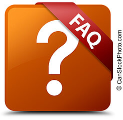 Faq (question icon) brown square button red ribbon in corner