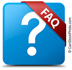 Faq (question icon) cyan blue square button red ribbon in corner