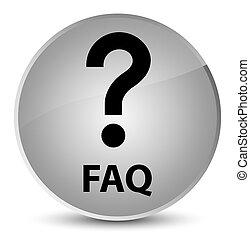 Faq (question icon) elegant white round button