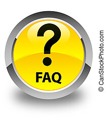 Faq (question icon) glossy yellow round button