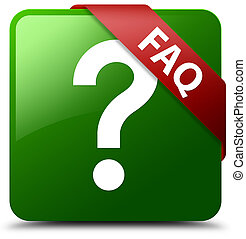Faq (question icon) green square button red ribbon in corner