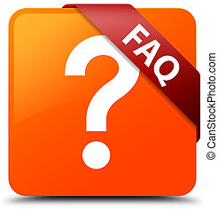 Faq (question icon) orange square button red ribbon in corner