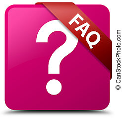 Faq (question icon) pink square button red ribbon in corner