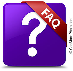 Faq (question icon) purple square button red ribbon in corner