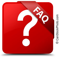 Faq (question icon) red square button red ribbon in corner
