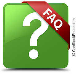 Faq (question icon) soft green square button red ribbon in corner