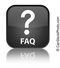 Faq (question icon) special black square button