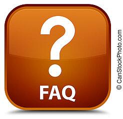 Faq (question icon) special brown square button