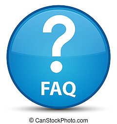 Faq (question icon) special cyan blue round button