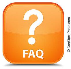 Faq (question icon) special orange square button