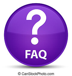 Faq (question icon) special purple round button