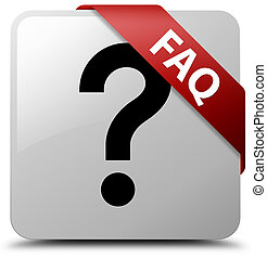 Faq (question icon) white square button red ribbon in corner