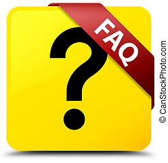 Faq (question icon) yellow square button red ribbon in corner