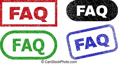 FAQ Rectangle Stamps with Rubber Texture