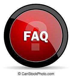 faq red circle glossy web icon on white background - set440