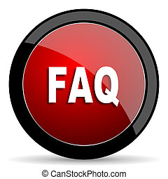 faq red circle glossy web icon on white background - set440