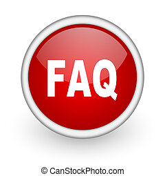faq red circle web icon on white background