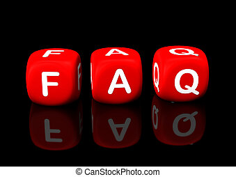 "FAQ red cubes - Red cubes with the text ""FAQ"". Black..."