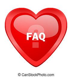 faq red heart valentine glossy web icon