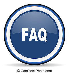 faq round glossy icon, modern design web element