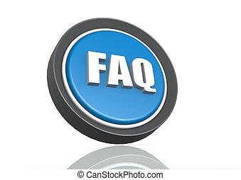 FAQ round icon in blue