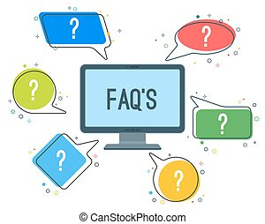 FAQ service minimalistic icons with question marks in speech clouds