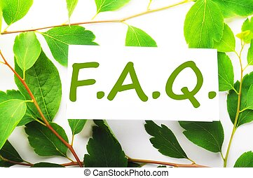 faq concept with word on nature still life