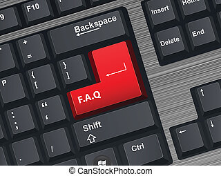 F.A.Q - Vector Illustration of a computer keyboard.