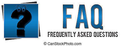 Banner image in blue with faq text and cartoonish question mark.
