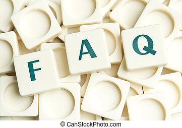 faq, woord, gemaakt, door, leter, stukken