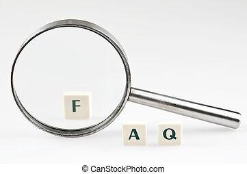 FAQ word and magnifying glass
