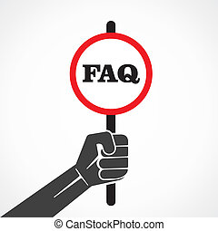 faq word banner hold in hand