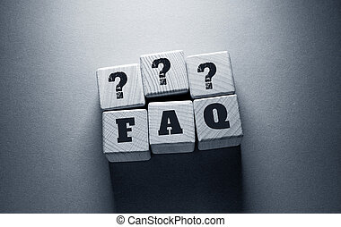 FAQ Word with Wooden Cubes