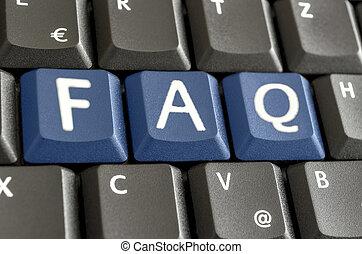 FAQ written with blue keyboard buttons