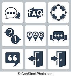 faq/info, vettore, set, isolato, icone