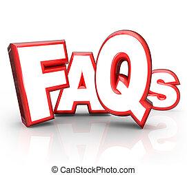 faqs, よく尋ねられる質問, 3d, 手紙, 頭字語