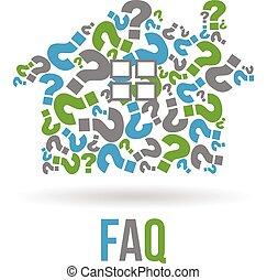 faqs, ベクトル, 家, 財産, logo., 写実的な 設計, 実質