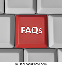 The abbreviation FAQs meaning frequently asked questions on a red computer key to help find answers to your inquiries and problems