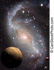 Far away spiral galaxy - Stars and spiral galaxy in a free...