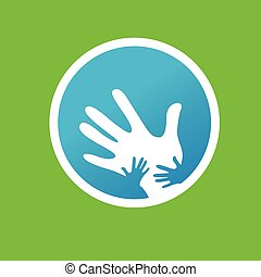 far børn, sammen, hænder