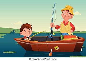 far, fiske, søn