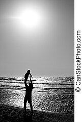 far, hos, barnet, til, den, hav, hos, solnedgang